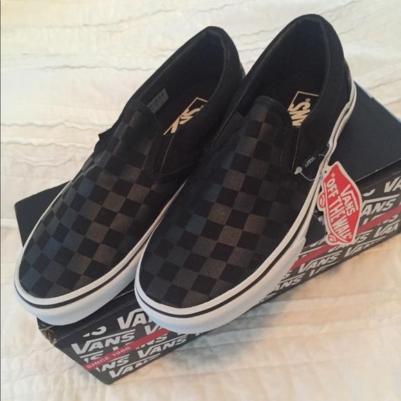 ddb179612334e6 NIB Vans Black Checkerboard Slip On 7W 5.5M